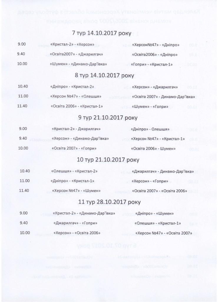 Календар Чемпіонат ХО U-121