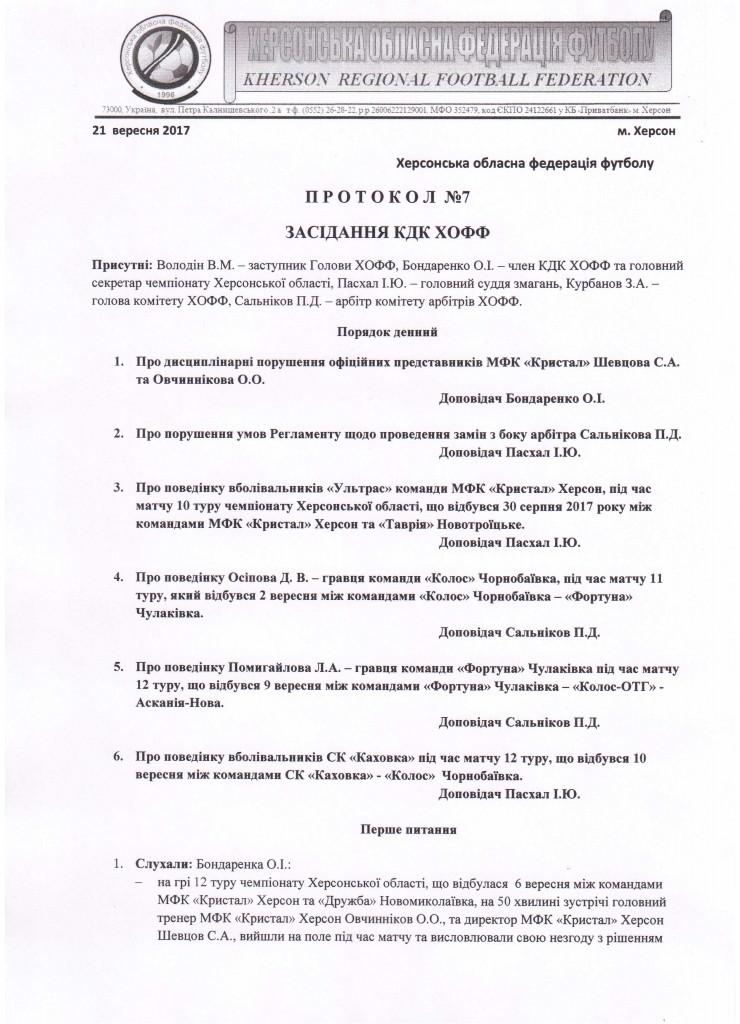 Протокол засідання КДК ХОФФ №73
