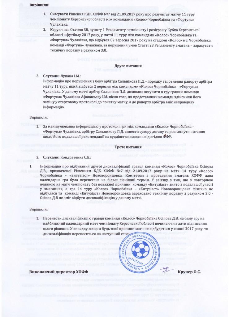 Апеляційний комітет ХОФФ Рішення1